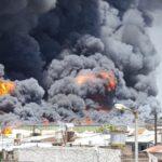 Incendio en fabrica colchones